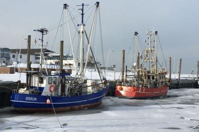 Krabbenkutter eingefroren im Eis